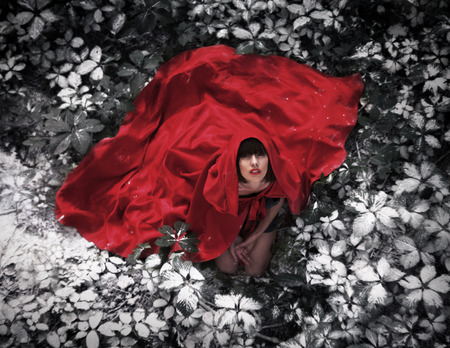 Beautiful dark-haired girl in a red cloak was lost in the wild forest. Little Red Riding Hood story. Fairy tale and legend. Grain added photo