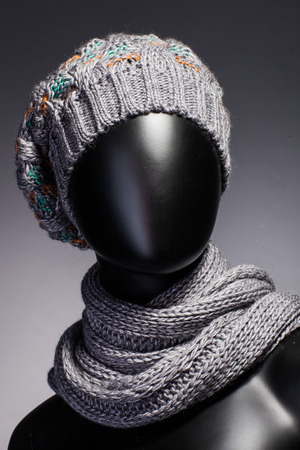 female likeness: Mannequin with hat and scarf. Stock Photo