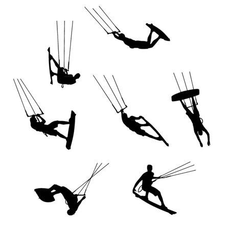 set of silhouettes of kitesurfers, kiteboarding, watersports Illustration