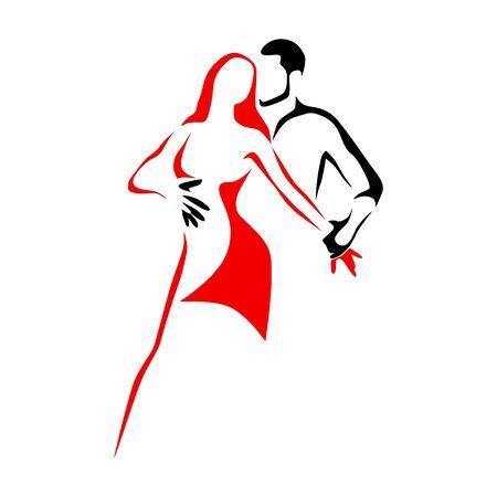 Logo de l'école de danse salsa. Couple dansant de la musique latine