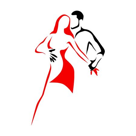 Salsa dance school logo. Couple dancing latin music Illustration
