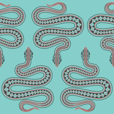 Blue seamless exotic pattern with snakes maori tattoo style. Animals background. Wildlife art illustration. Can be printed on T-shirts, bags, fabrics, posters, invitations, cards, paper, paper, textile.