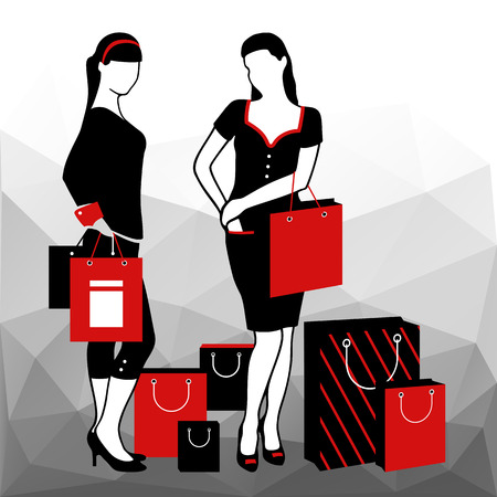 caras emociones: Set of Shopping woman silhouettes. Shopping bags. Geometric abstract background. Vector illustration Vectores