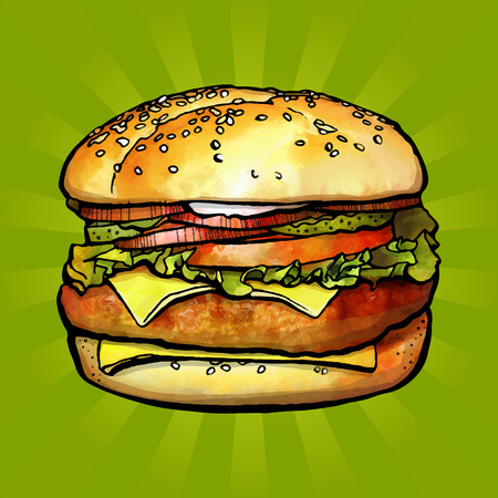 Sketch by hand. Hamburger with cheese, tomatoes, chop, lettuce, onion. Illustration for design fast food menu. Vector illustration