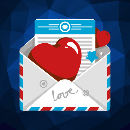 fourteenth: Vector illustration of Open envelope with red hearts Illustration