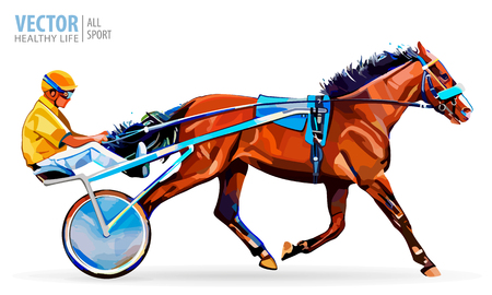 Jockey and horse. Champion. Racing. Hippodrome. Racing steed coming first to finish line. Chariot with horse and rider. Stallion race track. Harness racing at the Hippodrome. Vector illustration