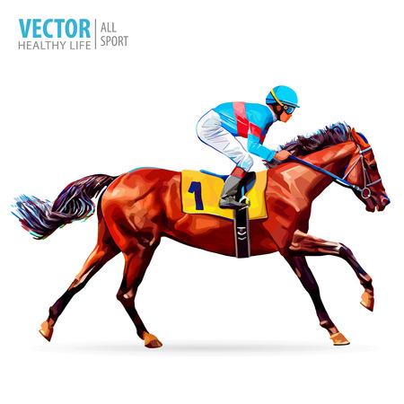Jockey On Horse Champion Racing Hippodrome Racetrack Stock Vector