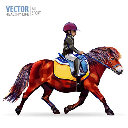 Boy jockey riding a horse. Horse. Pony club. Equestrian sport. H