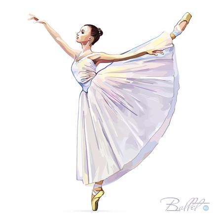 event party: Ballerina. Ballet dancer. Dance girl on white background. Princess. Ballerina girl. The Art of Classical Ballet. Ballet class. Vector illustration. Illustration