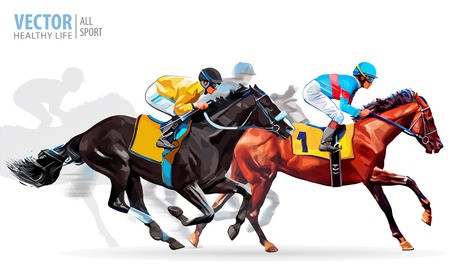 Four racing horses competing with each other, with motion blur to accent speed. Vector illustration.