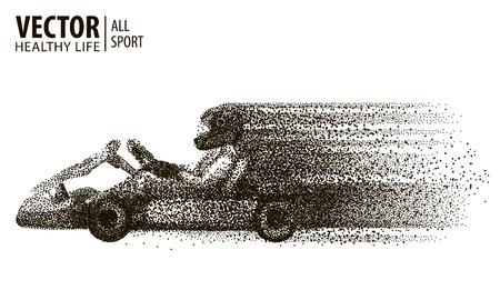 Kart race winnaar. arting. Geïsoleerd op een witte achtergrond. Kampioen. Auto komt als eerste om de finish te halen. Sport. Vector illustratie.