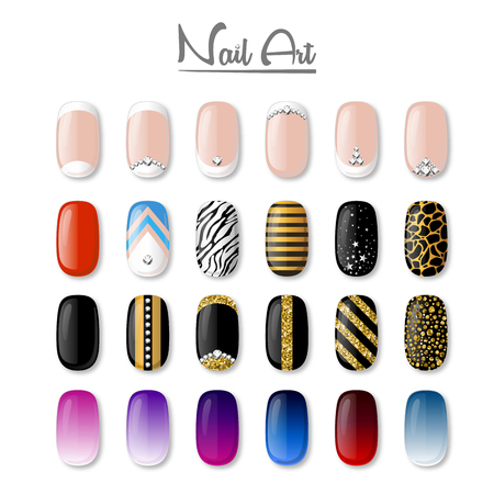 crystal background: Set of colored painted nails. Manicure. Nail polish. Isolated on a white vector background.