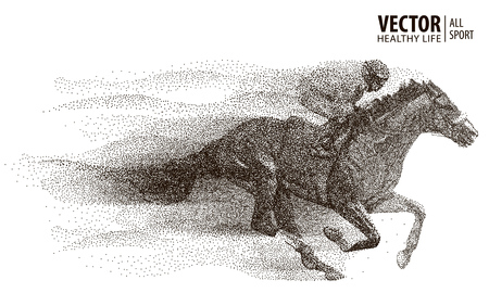 Jockey on horse. Champion. Horse racing. Hippodrome. Racetrack. Jump racetrack. Horse riding. Stock Illustratie