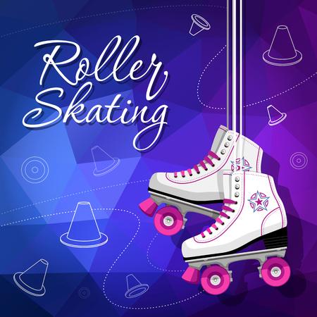 Quad skates classic. Roller skates hanging on the laces. Sport background. Vector illustration. Illustration