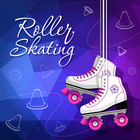 Quad skates classic. Roller skates hanging on the laces. Sport background. Vector illustration. 矢量图像
