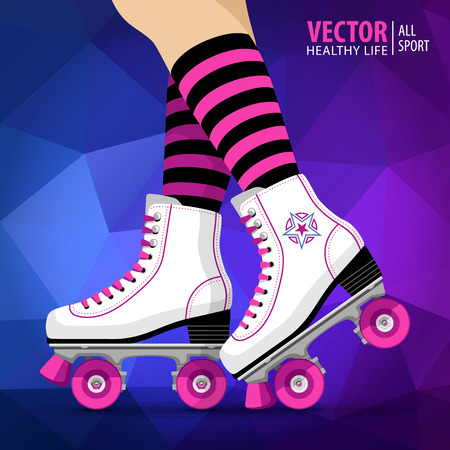 Roller girl. Quad skates classic. Roller skates. Sport background. Vector illustration.