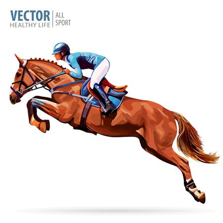 Jockey te paard, kampioen paardrijden Paardrijden in de paardensport. Vector Illustratie