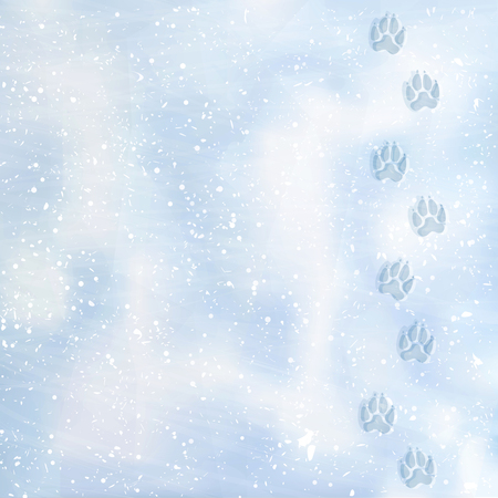 Animal foot prints to a snowy. Tracks in the snow. Dog footprints in the snow. Texture of snow surface. Vector background. Illustration