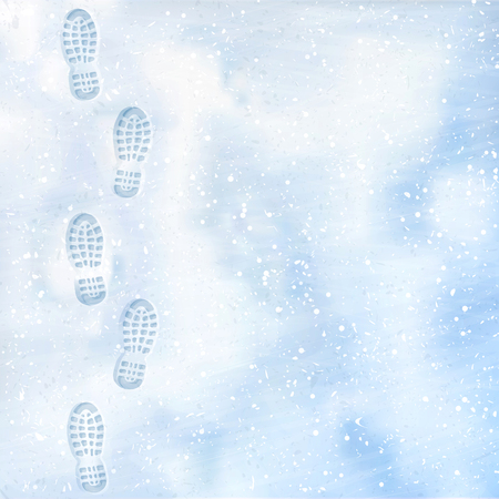 Clear deep footprints on white winter snow of a pair of boots. Track in snow. Overhead view. Texture of snow surface. Vector illustration background.