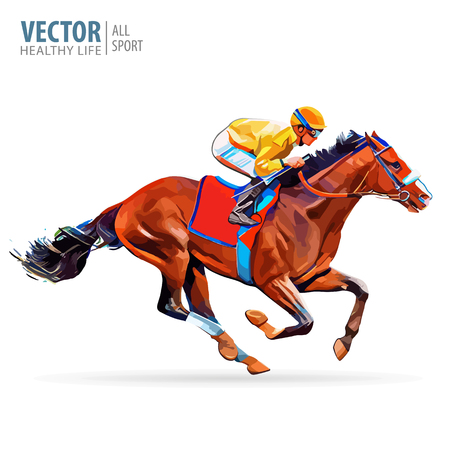 colt: Jockey on horse. Champion. Horse racing. Hippodrome. Racetrack. Jump racetrack. Horse riding. Racing horse coming first to finish line. Vector illustration.