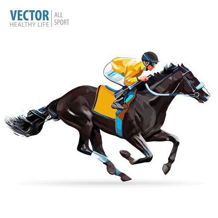 Jockey on horse. Champion. Horse racing. Hippodrome. Racetrack. Jump racetrack. Horse riding. Racing horse coming first to finish line. Vector illustration.