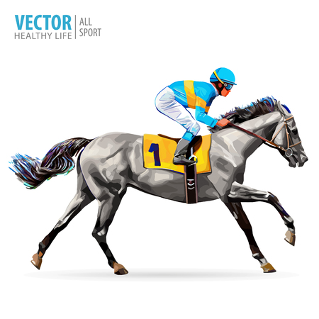 Jockey on horse. Champion. Horse racing. Hippodrome. Racetrack. Jump racetrack. Horse riding. Racing horse coming first to finish line.