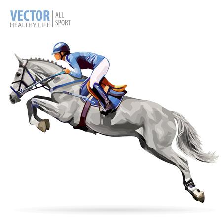Jockey a caballo. Campeón. Equitación. Deporte ecuestre. Jockey montando a caballo de salto. Póster. Fondo de deporte. Ilustración de Vector Aislado.