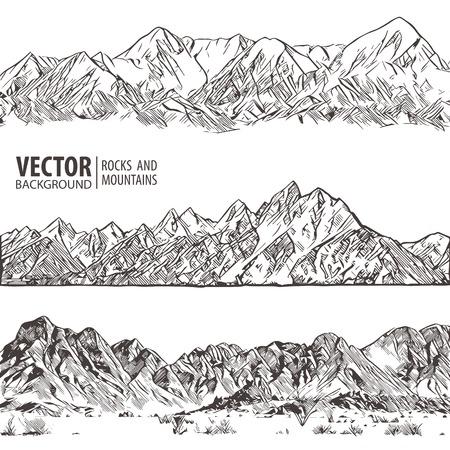 Cordilleras. Conjunto. Bosquejo de la naturaleza. Bosquejo de paisaje de montaña de Spiky dibujo a mano, en grabado estilo grabado, para el deporte de escalada extrema, viajes de aventura y diseño de turismo. Vector panorama.