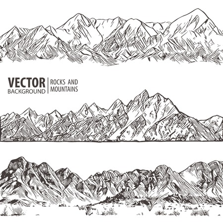 Mountains ranges. Set. Nature sketch. Spiky mountain landscape sketch hand drawing, in engraving etching style, for extreme climbing sport, adventure travel and tourism design. Vector panorama.