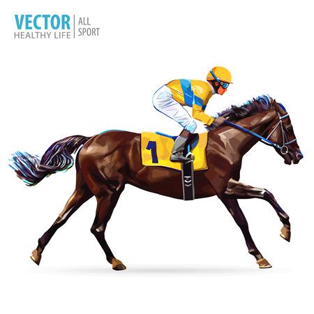 Jinete a caballo. Campeón. Las carreras de caballos. Hipódromo. Pista. Salte al hipódromo. Equitación. Caballo de carreras que viene primero para terminar la línea. Ilustración del vector.