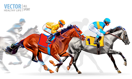 trotting: Four racing horses competing with each other, with motion blur to accent speed. Vector illustration.