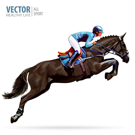 Jockey on horse. Champion. Horse riding. Equestrian sport. Jockey riding jumping horse. Poster. Sport background. Isolated Vector Illustration.