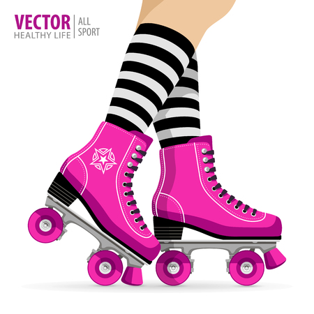 Roller girl. Quad skates classic. Roller skates. Sport background. Vector illustration. Stok Fotoğraf - 80796425