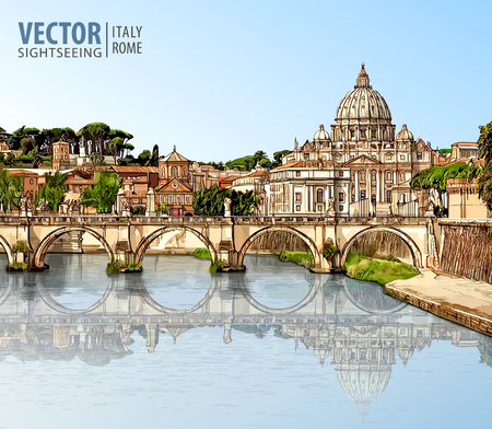 Travel to Italy. View at St. Peters cathedral in Rome. Tiber River and bridge in sunny day. Architecture and landmark. Landscape. Ancient cityscape. Vector illustration.