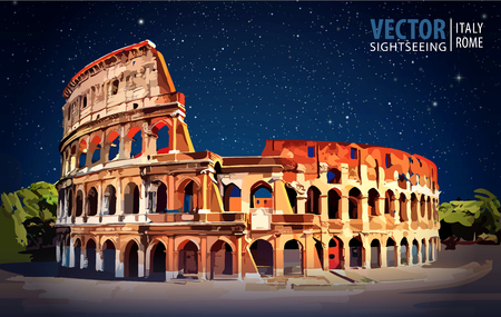 overcast: Roman Colosseum. Rome, Italy, Europe. Travel. Architecture and landmark. Starry sky. Night. Vector illustration.