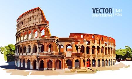 Roman Colosseum. Rome, Italy, Europe. Travel. Architecture and landmark. Vector illustration. Иллюстрация