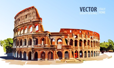 Roman Colosseum. Rome, Italy, Europe. Travel. Architecture and landmark. Vector illustration. Illustration