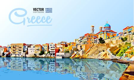 그리스 휴일 - 맑은 바다와 반사. 제도. 파노라마 도시입니다. 경치. 벡터. 삽화