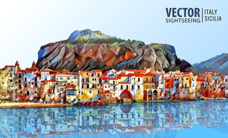 Küste von Cefalu, Palermo - Sizilien. Architektur und Wahrzeichen. Landschaft. Altes Stadtbild. Vektor-Illustration. Standard-Bild - 81969969