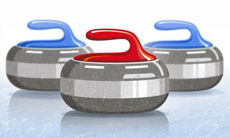 Stenen voor curling sport spel. Ijs. Ijsbaan. Vector illustratie. Stock Illustratie