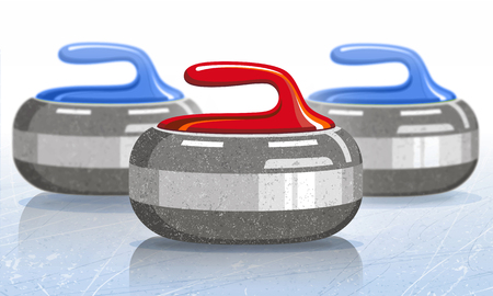 Stones for curling sport game. Ice. Rink. Vector illustration. Ilustracja