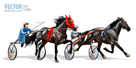 Jockey and horse. Two racing horses competing with each other. Race in harness with a sulky or racing bike. Vector illustration.