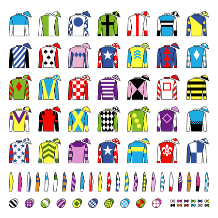 Jockey uniform. Traditional design. Jackets, silks, sleeves and hats. Horse riding. Horse racing. Icons set. Isolated on white. Vector illustration. Ilustração