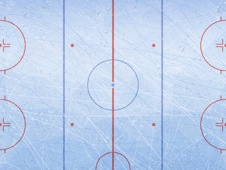 Vector of ice hockey rink. Textures blue ice. Ice rink. Vector illustration background. Stock Illustratie