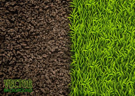 Afbeelding van grond en groen gras textuur. Natuurlijke textuur. Bovenaanzicht. Vector illustratie natuur achtergrond. Stock Illustratie