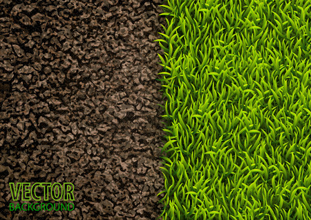 Image of soil and green grass texture. Natural texture. Overhead view. Vector illustration nature background. Çizim
