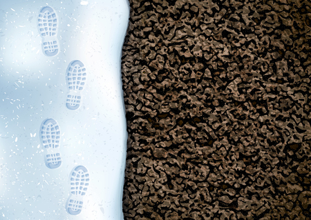 Clear deep footprints on white winter snow of a pair of boots. Track in snow. Overhead view. Image of soil texture. Vector illustration background. Çizim