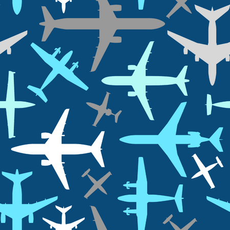 Kids seamless pattern with airplanes. Baby pattern. Seamless airplanes vector background. Çizim