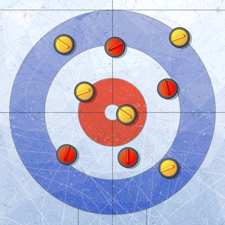 Sport. Curling stones on ice. Curling House. Playground for curling sport game. Red and yellow stones. Textures blue ice. Ice rink. Vector illustration background. Vettoriali