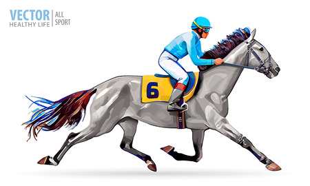 Jinete a caballo Campeón. Las carreras de caballos. Hipódromo. Pista. Salta a la pista.